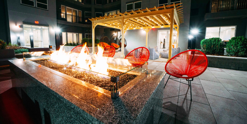 the curb apartments in norwalk fire pit outdoor amenities