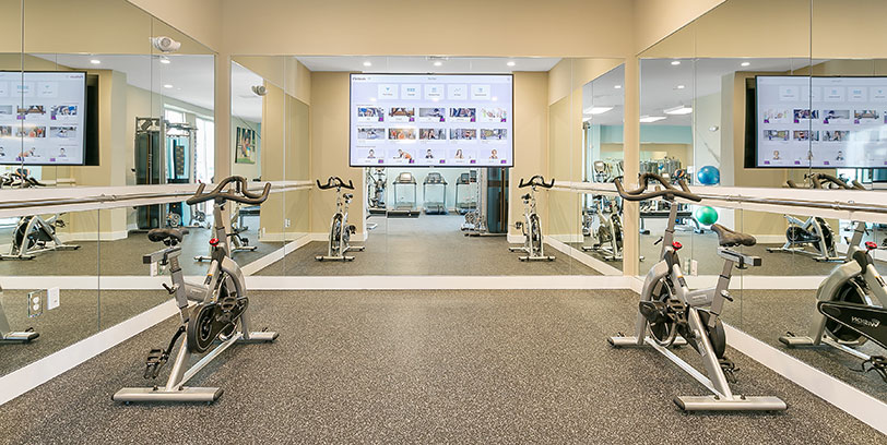 stationary bikes in apartment gym at stamford norwalk apartments for rent blt
