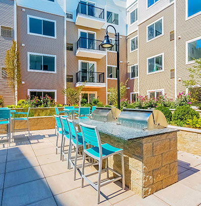 one glover outdoor patio grill amenities apartments norwalk blt live work play