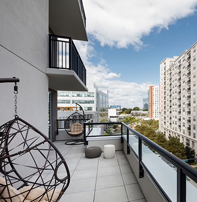 private balcony in stamford apartment on waterfront blt live work play