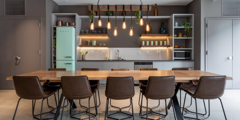 apartment community kitchen dining space amenities at the curb norwalk blt